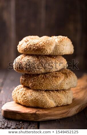 Tasty Homemade Bagel Breads Piled Vertically Stock photo © ozgur
