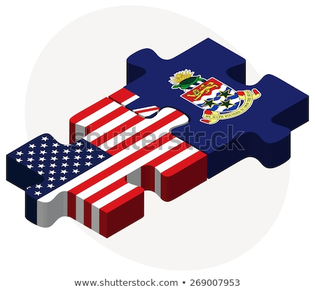 Stock photo: USA and Cayman Islands Flags in puzzle