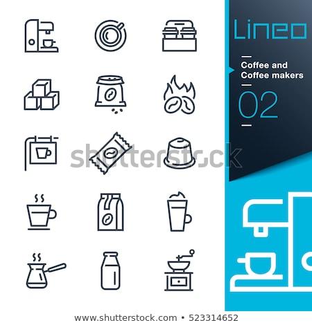 Fles zwarte koffie boon voorraad foto restaurant Stockfoto © nalinratphi