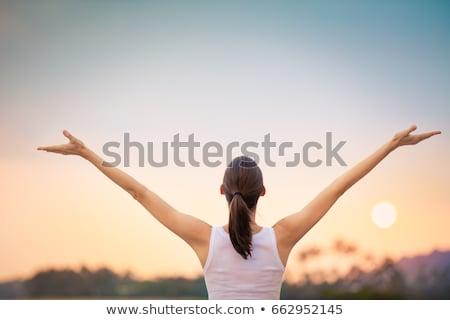 nő · élvezi · nap · szabadtér · portré · fiatal · nő - stock fotó © igabriela