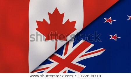 Stock fotó: Kanada · Új-Zéland · zászlók · puzzle · izolált · fehér