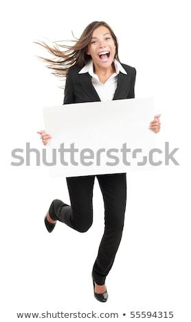 реклама · баннер · знак · женщину · возбужденный · указывая - Сток-фото © maridav