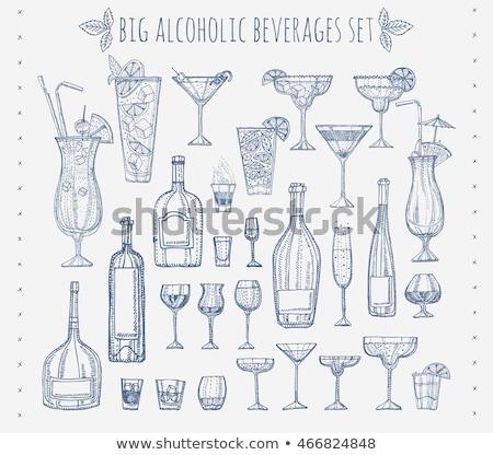 Koktél whiskey fanyar citrom jégkockák üveg Stock fotó © netkov1