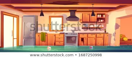 Törött tűzhely konyha fekete fehér modern Stock fotó © inxti