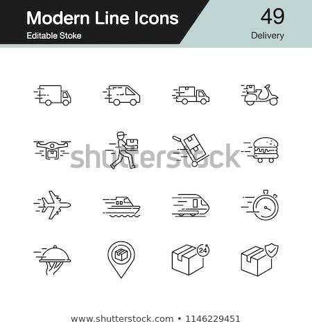 drone delivering package line icon stock photo © rastudio