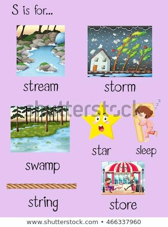 Lettera stream illustrazione ragazzi bambino sfondo Foto d'archivio © bluering