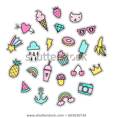 cute cat hand drawn patch icon background stock photo © cienpies
