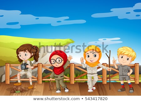 Four kids in safari outfit at the mountain Stock photo © bluering