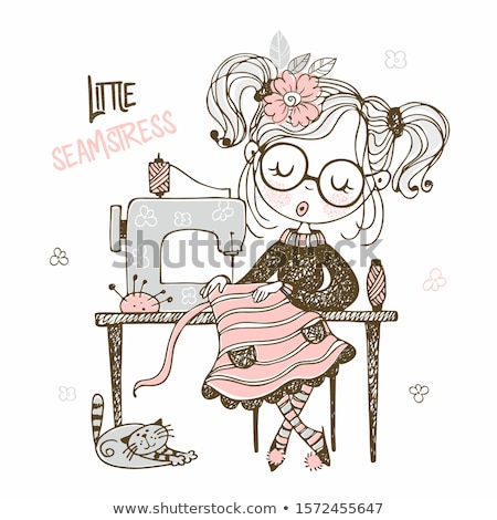 Young female sewing dress Stock photo © dash