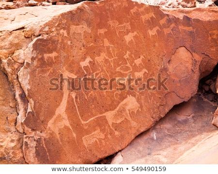 Bushman engravings in the granite rock, Twyfelfontein UNESCO Wor Stock photo © meinzahn