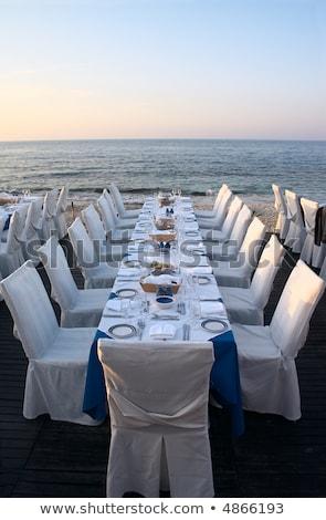 Served Restaurant Tables on Sea Coast Stock photo © zhekos