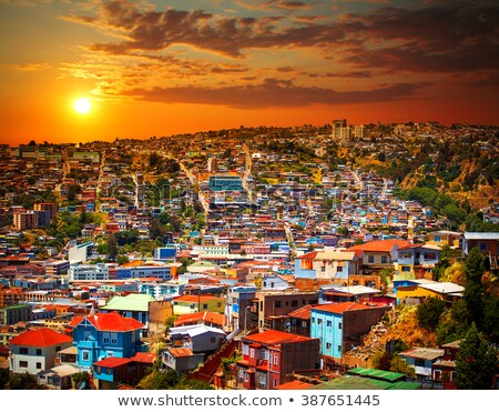 Foto stock: Cityscape · Chile · colorido · velho · casas · cidade