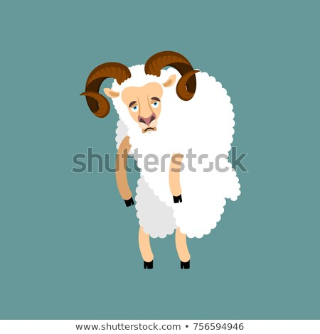 Ram sad. Sheep Farm animal sorrowful emoji. Vector illustration Stock photo © popaukropa