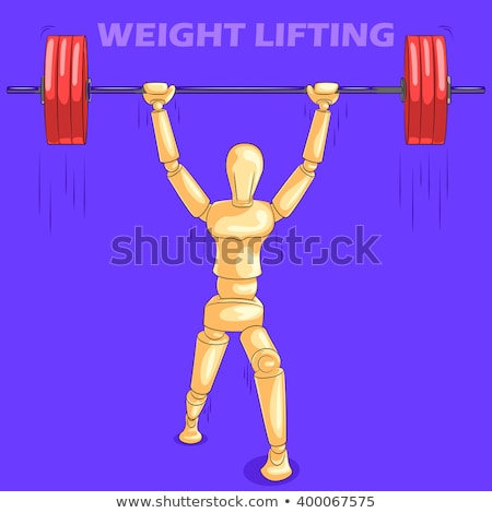 Weight lifting wooden manikin Stock photo © njnightsky