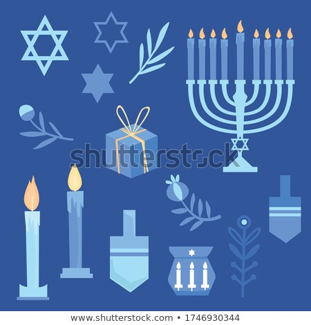 Happy Hanukkah with different designs of candle holders Stock photo © bluering