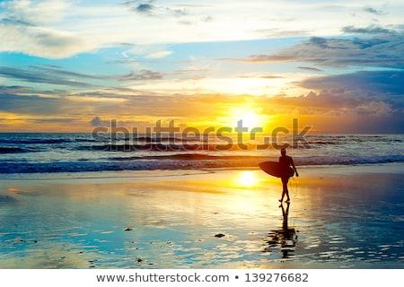 Yürüyüş gün batımı bali ada kadın plaj Stok fotoğraf © joyr