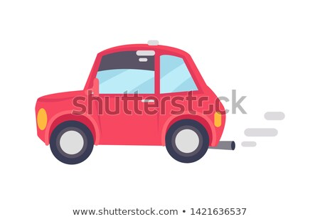 Red Car Makes Lot of Unhealthy Smoke Color Card Stock photo © robuart