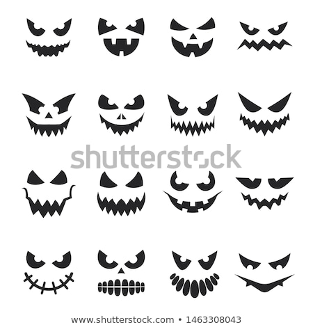 Cartoon Halloween scary face pumpkin on white  Stock photo © TasiPas