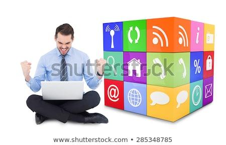 atraente · jovem · empresário · falante · telefone · móvel · sessão - foto stock © deandrobot