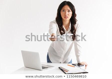 портрет · расстраивать · белый · рубашку · Постоянный - Сток-фото © deandrobot