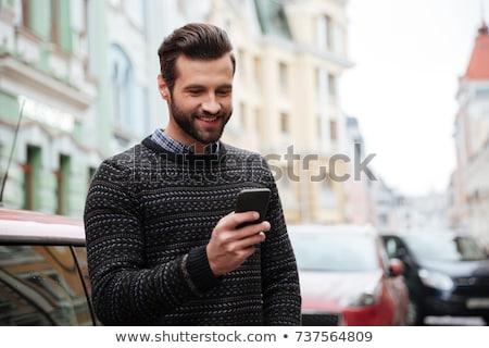 autó · okostelefon · app · férfi · sms · chat · sms - stock fotó © ichiosea