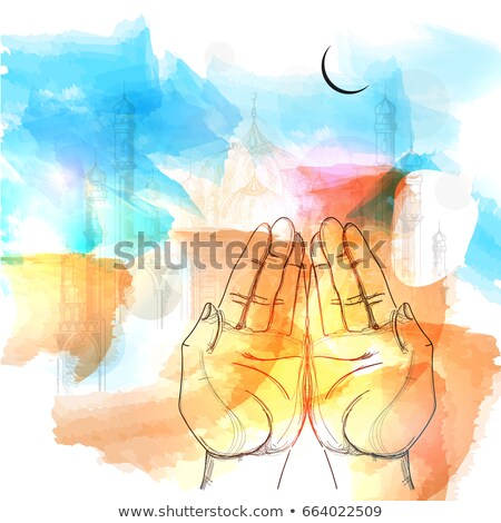 praying hands in front of mosque stock photo © superzizie