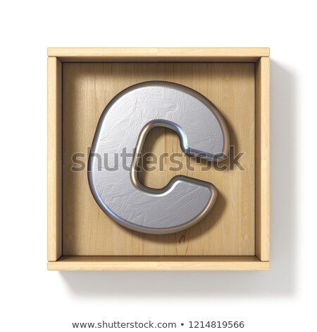silver metal letter c in wooden box 3d stock photo © djmilic