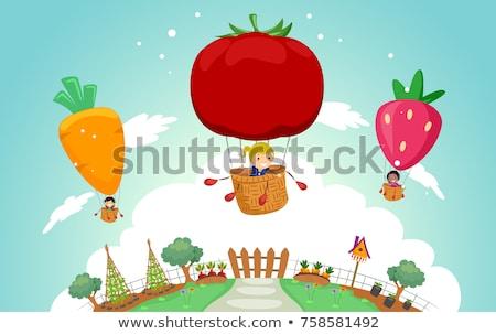 Stickman Kids Veggies Art Illustration Stock photo © lenm