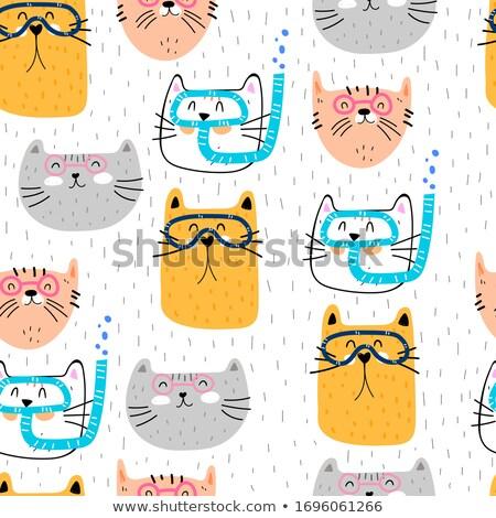 Cartoon Cat Diving Stock photo © cthoman