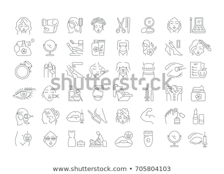 girl fashion line icons set stock photo © anna_leni