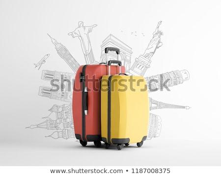 klasszikus · bőrönd · izolált · fehér · divat · utazás - stock fotó © bluering