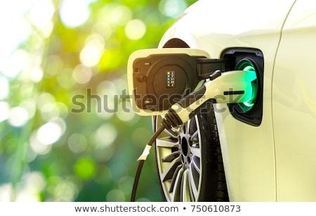 elektrikli · araba · yalıtılmış · yeşil · ikon · araba · ışık - stok fotoğraf © bluering