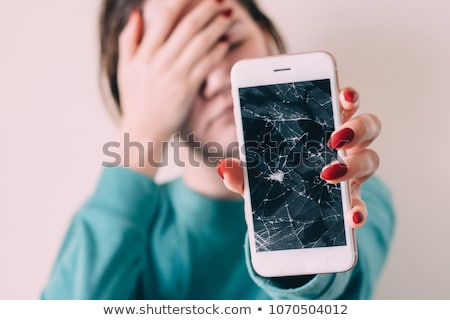 broken mobile phone smart phone screen with scratches cracked touch screen repair smartphone vec stock photo © andrei_