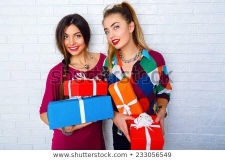 Foto d'archivio: Natale · shopping · ragazza · vettore · persona