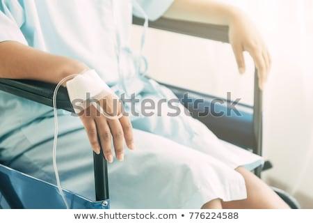 mulher · cadeira · de · rodas · cuidar · sorrir · médico · caneta - foto stock © lightpoet