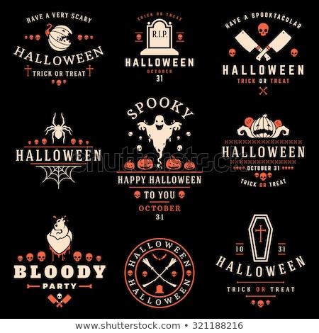 feliz · halloween · cartaz · fita · fantasma · vetor - foto stock © robuart