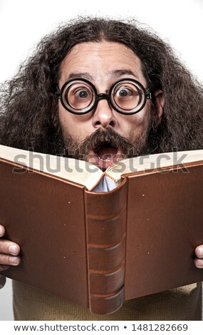 Cloesup portrait of an astonished nerd Stock photo © majdansky