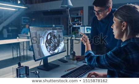 architect working on blueprint engineer working with engineerin stock photo © freedomz