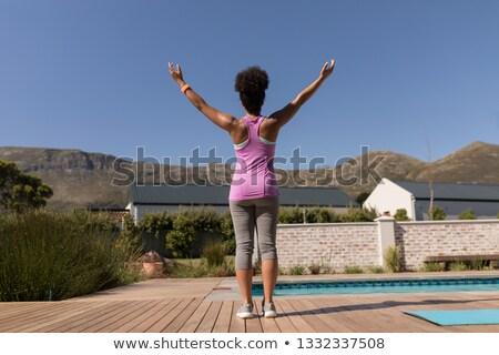 hátsó · nézet · fitt · egészséges · afroamerikai · nő · gyönyörű - stock fotó © wavebreak_media