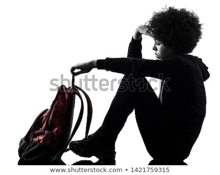 вид сбоку печально школьница сидят полу Сток-фото © wavebreak_media