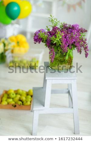 Díszlet virágcsokor virágok szék gyümölcs elmosódott Stock fotó © ElenaBatkova