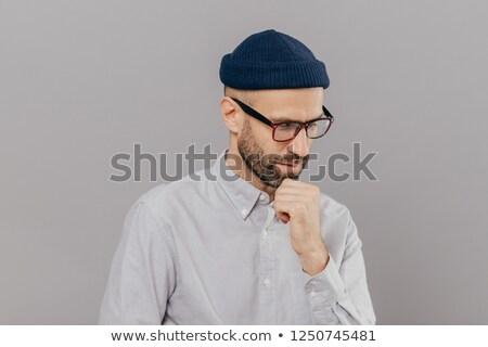 Tiro concentrado hombre barbilla centrado Foto stock © vkstudio