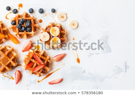 Delicious belgian waffles with summer berries Stock photo © karandaev