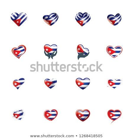 Cuba flag and hand on white background. Vector illustration Stock photo © butenkow