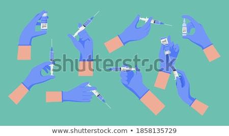 Injekciós tű orvosi injekció kéz fogorvos felirat Stock fotó © ra2studio