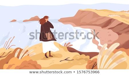 женщину берег реки счастливым сидящий воды Сток-фото © smithore