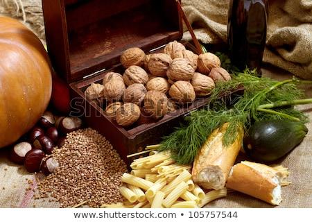 csendélet · mellkas · diók · sütőtök · kenyér · tészta - stock fotó © leedsn