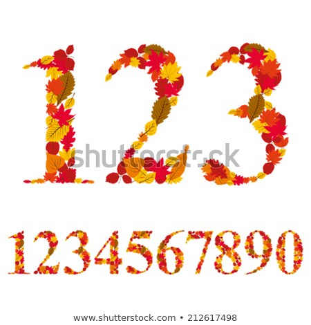 Numbers 6 and 7 made of autumn leaves stock photo © erierika
