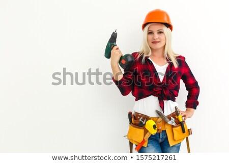 Térdel fa építkezés háttér kék munkás Stock fotó © photography33