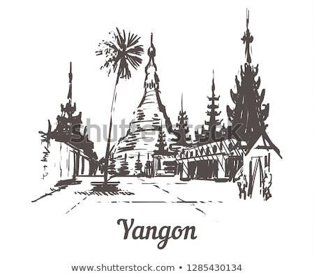 Blanco pagoda chino antigua cielo Foto stock © bbbar